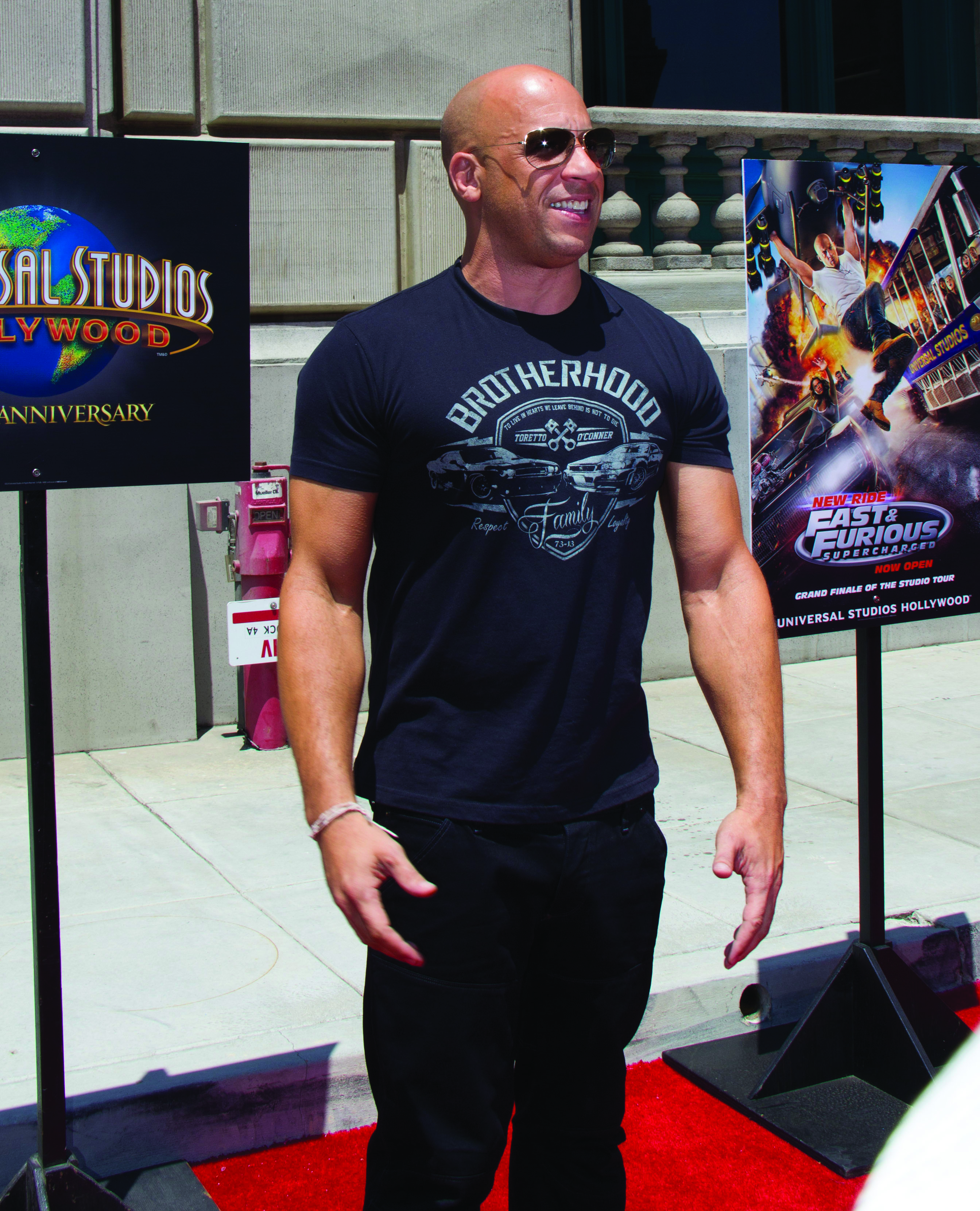 "(150624) -- LOS ANGELES, June 24, 2015 (Xinhua) -- Actor Vin Diesel attends the premiere of Universal Studios Hollywood's thrill ride,""fast & Furious -- Supercharged"", in Universal City of California, the United States, on June 23, 2015. (Xinhua/Yang Lei) (nxl)"