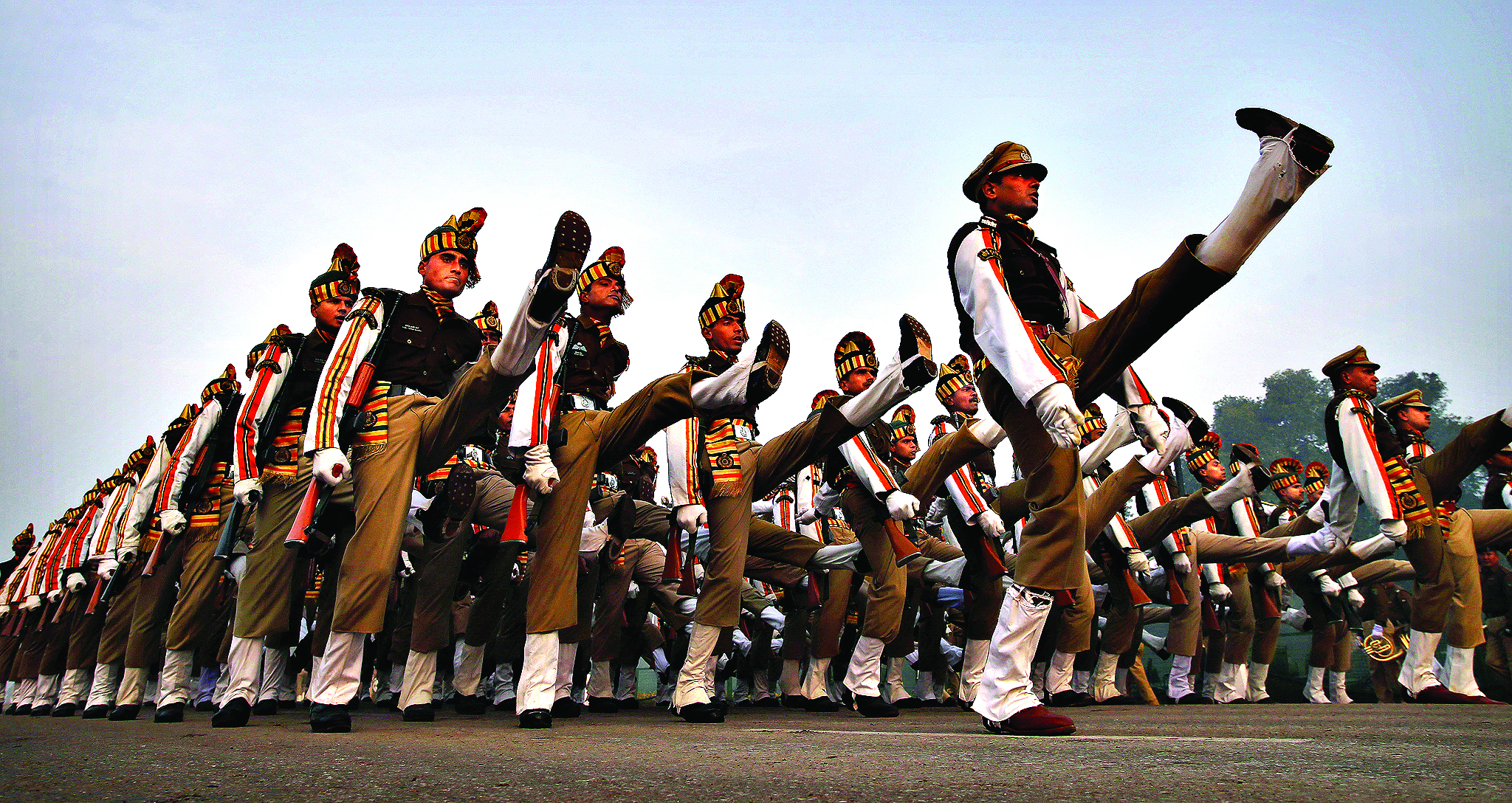 Indian soldiers march during a rehearsal for the upcoming Republic Day parade in New Delhi, India, Monday, Jan. 13, 2014. Indian Republic Day is celebrated on Jan. 26 every year. (AP Photo/Saurabh Das)