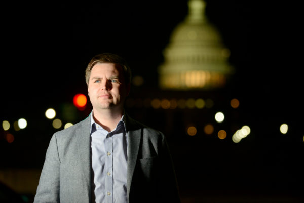 """J.D. Vance, author of """"Hillbilly Elegy,"""" has become the nation's go-to white, rural translator. His book has sold almost half a million copies since late June. MUST CREDIT: Photo for The Washington Post by Astrid Riecken"""