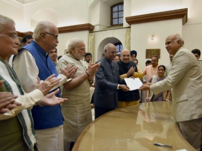 New Delhi: Ram Nath Kovind files his nomination papers for the Presidential Election, in the presence of Prime Minister Narendra Modi, BJP MP LK Advani and  and other dignitaries, at Parliament, in New Delhi on June 23, 2017. (Photo: IANS/PIB)