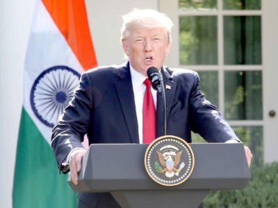 US President  Donald Trump during a joint press statement after meeting with the Indian PM, Naremdra Modi at the White House Rose Garden.  Washington DC,; June 26, 2017 Photo:-Jay Mandal/On Assignment