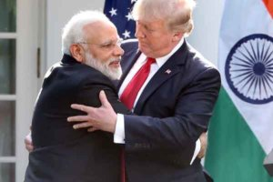 PM Narendra Modi (left) gives abear hug to US President  Donald Trump after giving a joint press statement at the White House Rose Garden.  Washington DC,; June 26, 2017 Photo:-Jay Mandal/On Assignment