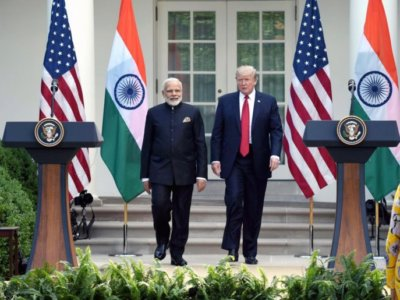 Washington DC: Prime Minister Narendra Modi and President of United States of America (USA) Donald Trump during Joint Press Statement, at White House, in Washington DC, USA on June 26, 2017. (Photo: IANS/PIB)