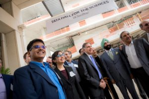 Ratan Tata (center) celebrated the building's dedication with Chancellor Khosla and members of the new Tata Institute for Genetics and Society. CREDIT: UC San Diego