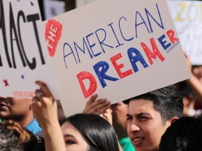 FILE PHOTO: Students gather in support of DACA (Deferred Action for Childhood Arrivals) at the University of California Irvine Student Center in Irvine, California, U.S., October 11, 2017. REUTERS/Mike Blake/File Photo