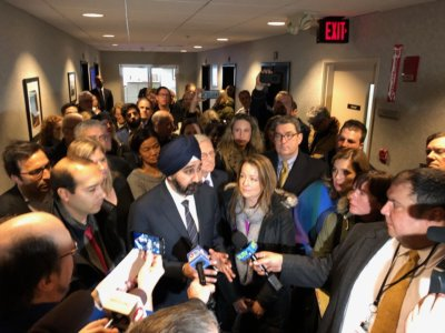 City of Hoboken photo Mayor Ravinder Bhalla was joined by scores of protesters