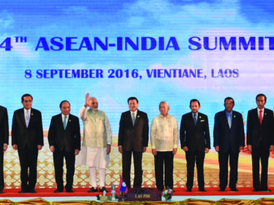 PM Narendra Modi attends 14th ASEAN-India summit at Vientiane, Laos.