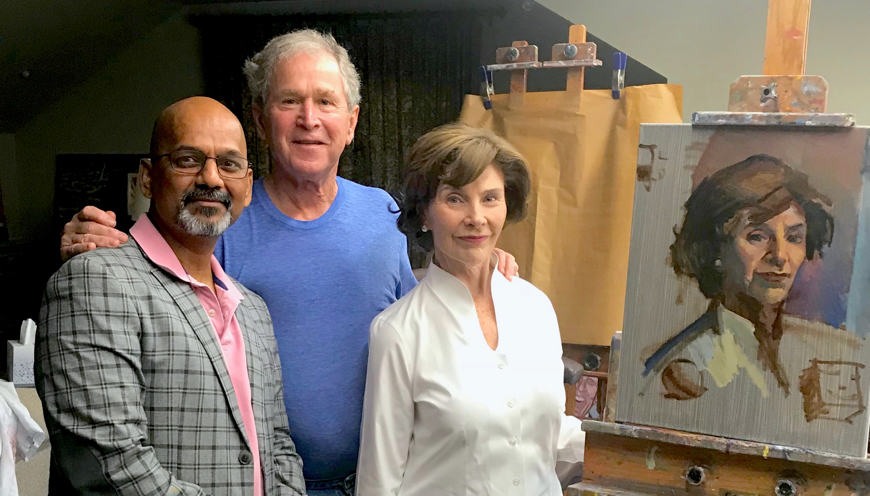 Indian American Artist Teaches President George W Bush To Paint