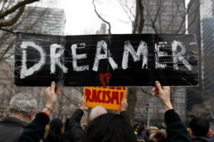 FILE PHOTO: Activists and DACA recipients march up Broadway during the start of their 'Walk to Stay Home,' a five-day 250-mile walk from New York to Washington D.C., to demand that Congress pass a Clean Dream Act, in Manhattan, New York, U.S., February 15, 2018. REUTERS/Shannon Stapleton