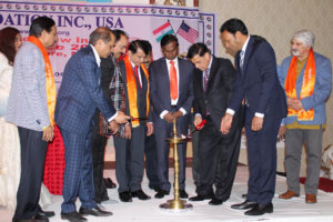 Padma Shri Dr. Sudhir Parikh, founder and chairman of Parikh Worldwide Media; Dr. Udit Raj, a National Executive member of BJP; Ajay Bhatt, the president of Uttrakhand BJP and other dignitaries light the lamp at the start of the Global Peace Conference.