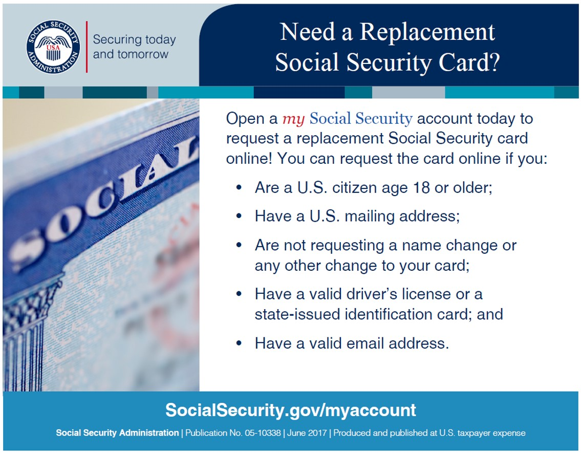 What do you need to get a replacement social security card online