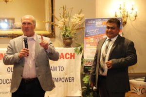 Naperville Mayor Steve Chirico speaking at the Indian Community Outreach kick-off event held recently for the August 12 India Day celebrations. Krishna Bansal, chairman of ICO looks on. (Courtesy: ICO)