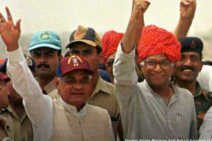 Former Prime Minister Atal Behari Vajpayee (L) with Defence Minister George Fernandes wave to soldiers at the Buddha Site, where Indian nuclear tests were carried out in 1998. Two nuclear tests were carried out May 13. (Reuters)