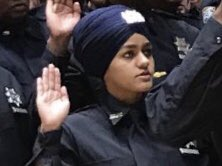 Gursoach Kaur 3 swearing-in pic also on Sikh Officers Association Twitter thread