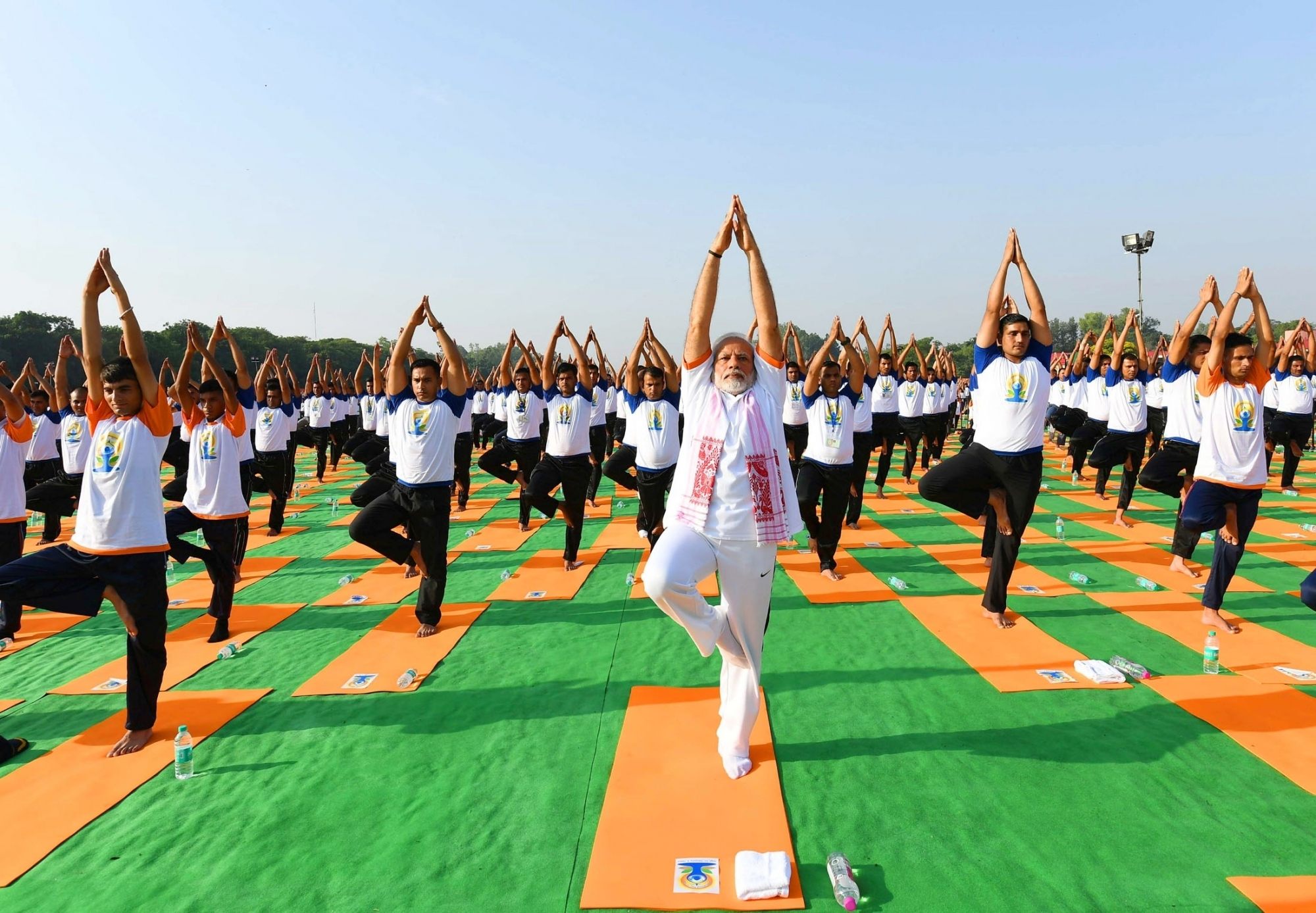 Dehradun Prime Minister Narendra Modi Practices Yoga Asanas Postures On Fourth International Day At The Forest Research Institute In