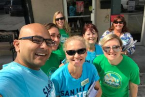 Sanjay Patel 2 campaigning with supporters in Fellsmere Facebook