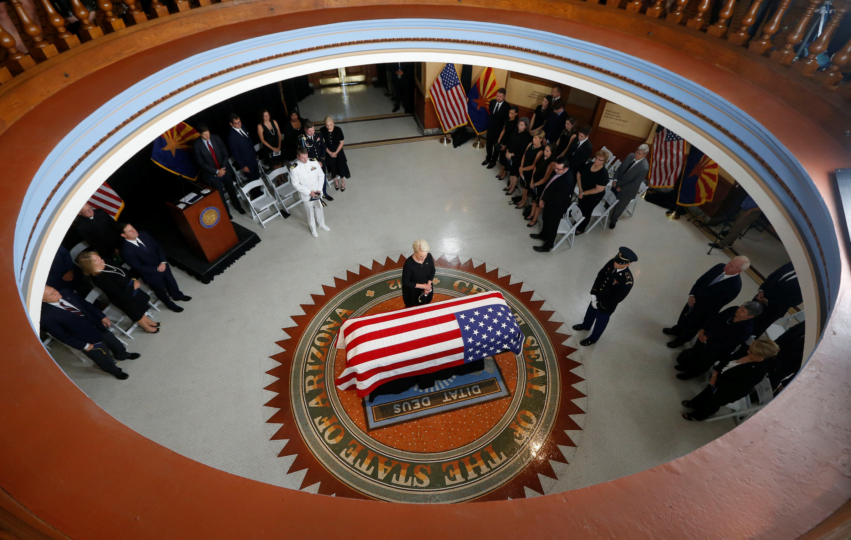 Arizona military stand at attention to pay tribute to Sen. John McCain