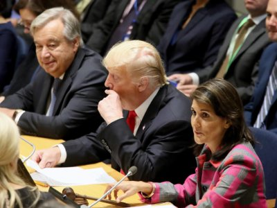 """from left, UN Secy-General, António Guterres,, US President, Donald Trump and Nikki Haley  at a high level meetings on """"counter Narcotics and Global Call to Action on World Drug Problem"""" chaired by US President, Donald Trump at the United Nations in New York September 24, 2018 Photo:-Jay Mandal/On Assignment"""