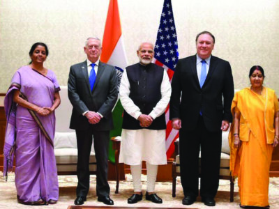 India's Prime Minister Narendra Modi, center, with U.S. Secretary of State Mike Pompeo, 2nd from left, and U.S. Secretary of Defense James Mattis, as well as India's Minister for External Affairs Sushma Swaraj, left, and Minister of Defense Nirmala Sitharaman, right. (Photo: Prime Minister's Office- Twitter)