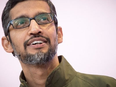 Google CEO Sundar Pichai speaks during the Google I/O Developers Conference in Mountain View, California, on May 8, 2018. (Bloomberg photo by David Paul Morris)
