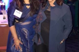 """Debjani Desai, president of the South Asian Bar Association of Chicago, left, with Alpana Singh, a sommelier who appears on the Emmy Award-winning """"Check Please!"""" at the Sept. 30 gala of the Indo American Center of Chicago. (Photo courtesy IAC)"""