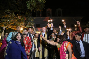 More than 150 Indian-American and South Asians joined Governor of New Jersey Phil Murphy when he hosted Diwali celebrations at his official residence, Drumthwacket, Nov. 8. (Photo courtesy Governor's office)