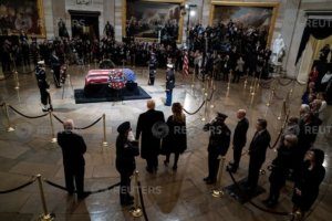 President Donald J. Trump and first lady Melania Trump arrive to pay their respects to former president George H.W. Bush as he lies in State at the U.S. Capitol Rotunda on Capitol Hill on Monday, Dec. 03, 2018 in Washington, DC.   Jabin Botsford/Pool via Reuters