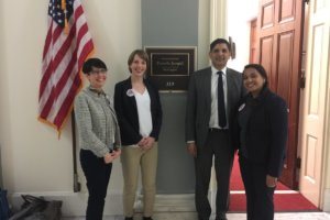A Feb. 14, 2017 photo of Ven Neralla, 2nd from right, in front of Rep. Pramila Jayapal's office on Capitol Hill. (Photo: Twitter/Emily Law)