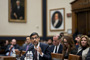 Google CEO Sundar Pichai speaks during a House Judiciary Committee hearing in Washington, D.C., on Tuesday. MUST CREDIT: Bloomberg photo by Andrew Harrer