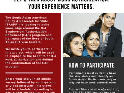 SAAPRI flyer/email relating to its online survey launch on H-4 visa holders. (Photo: SAAPRI)