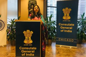 India's Consul General in Chicago Neeta Bhushan, addresses guests at the Jan. 12  celebration of Pravasi Bharatiya Divas and Hindi Divas, at the Consulate. (Photo: courtesy Chicago Consulate)