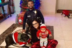 Corporal Ronil Singh of the Newman Police Department, California, with his wife Anamika and their five-month old son, a few hours before he was killed Christmas night while on duty. (Photo: Blue Alert Foundation Twitter)