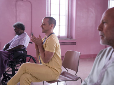 """From left: Samuel L. Jackson, James McAvoy and Bruce Willis play men who believe themselves to possess superpowers in """"Glass."""" MUST CREDIT: Jessica Kourkounis, Universal Pictures"""