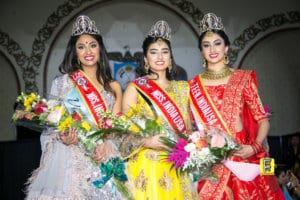 Winners of the Miss India USA 2019 beauty pageant from L to R: Mrs. India USA 2019 Vidhi Dave, Miss India USA 2019 Kim Kumari and Miss Teen India USA 2019 Esha Chandra Kode.