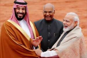 Saudi Arabia's Crown Prince Mohammed bin Salman is greeted by India's Prime Minister Narendra Modi and President Ram Nath Kovind during his ceremonial reception at the forecourt of Rashtrapati Bhavan presidential palace in New Delhi, India, February 20, 2019. (Photo: REUTERS/Adnan Abidi)