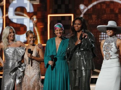Lady Gaga, Jennifer Lopez, Alicia Keys, former first lady Michelle Obama and Jada Pinkett Smith. (Photo: REUTERS/Mike Blake)