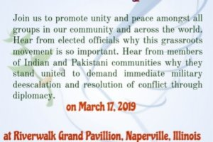 Flyer for rally in Chicago suburb. (Photo: courtesy United for Peace)