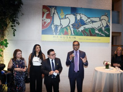 kent speaking-World largest painting of M.F. Husain Lightning, 1975  Oil on canvas Twelve panels, overall: H.10 x W. 60 ft. (3 x 18 m) display at Asia Society  from 20th march 2019-Aug 4th owned by Marguerite and Kent Charugundla a prominent art collector, inventor, and serial entrepreneur, who has supported many artists in  New York...pic Mohammed Jaffer-SnapsIndia