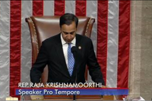 Congressman Raja Krishnamoorthi officiating as Speaker of the US House, pro tempore, April 1. (Photo: courtesy Rep. Krishnamoorthi)