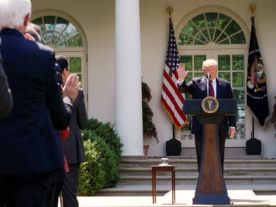 U.S. President Donald Trump acknowledges applause as he delivers remarks on immigration reform in the Rose Garden of the White House in Washington, U.S., May 16, 2019. REUTERS/Joshua Roberts