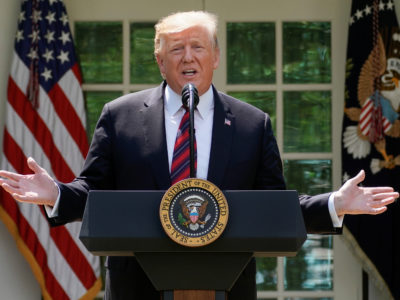 U.S. President Donald Trump delivers remarks on immigration reform in the Rose Garden of the White House in Washington, U.S., May 16, 2019. REUTERS/Joshua Roberts