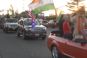 Victory parade held May 27, 2019, on Oak Tree Road in Iselin, N.J. to celebrate Indian Prime Minister Narendra Modi's re-election win. (Photo: ITV Gold)
