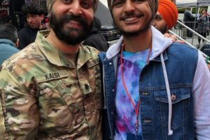 Manav Singh Sodhi, 17, on right, with Lt. Col. Kamal Kalsi. Sodhi will soon head for basic training for the U.S. Military and has received the religious waiver to keep his beard and turban while in training. (Photo courtesy, Lt.Col. Kamal Kalsi)