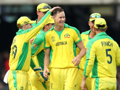 Cricket - ICC Cricket World Cup - England v Australia - Lord's Cricket Ground, London, Britain - June 25, 2019   Australia's Jason Behrendorff celebrates with teammates after taking the wicket of England's Jofra Archer   Action Images via Reuters/Peter Cziborra