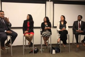 "South Asians for America, SAFA, held a panel discussion on ""Pathways to Power"" at Thoughtworks on Madison Ave., June 19, 2019. Several tri-state leaders attended, including Ahsia Badi, vice chair of Community Board Six; Biju Koshy, district leader for New York State's 63rd Assembly District; Freeholder for Middlesex County, New Jersey Shanti Narra; Dr. Neeta Jain, district leader for New York's 25th Assembly District Part B; and moderator Rajiv Parikh, general counsel for the New Jersey Democratic State Committee. (Photo: courtesy SAFA)"