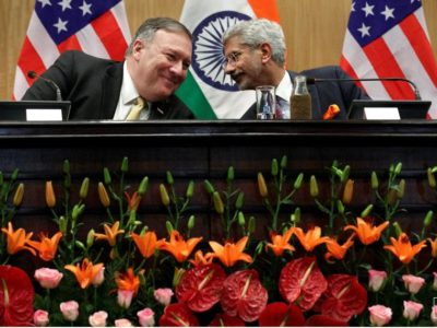 U.S. Secretary of State Mike Pompeo listens to Indian Foreign Minister Subrahmanyam Jaishankar during a news conference at the Foreign Ministry in New Delhi, India, June 26, 2019. Jacquelyn Martin/Pool via REUTERS