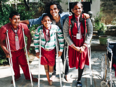 Mohan Sudabattula visits an orphanage in India in 2017, where he delivered a collection of donated walkers and crutches. MUST CREDIT: Project Embrace.