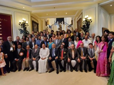 Leaders of the American Association of Physicians of Indian Origin, AAPI, with India's Vice President Venkaiah Naidu, center in white, at the July 21, 2019, 13th Global Health Summit in Hyderabad, hosted by AAPI, GAPIO, BAPIO, and numerous alumni organizations. (Photo: courtesy AAPI)