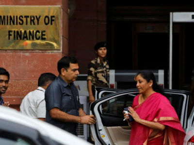 India's Finance Minister Nirmala Sitharaman arrives at her office before leaving for parliament to present the federal budget in New Delhi, India, July 5, 2019. REUTERS/Anushree Fadnavis