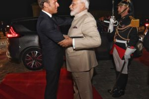 India's Prime Minister Narendra Modi greeted by French President Emmanuel Macron in Paris Aug. 22, 2019. (Photo: Narendra Modi Twitter account)